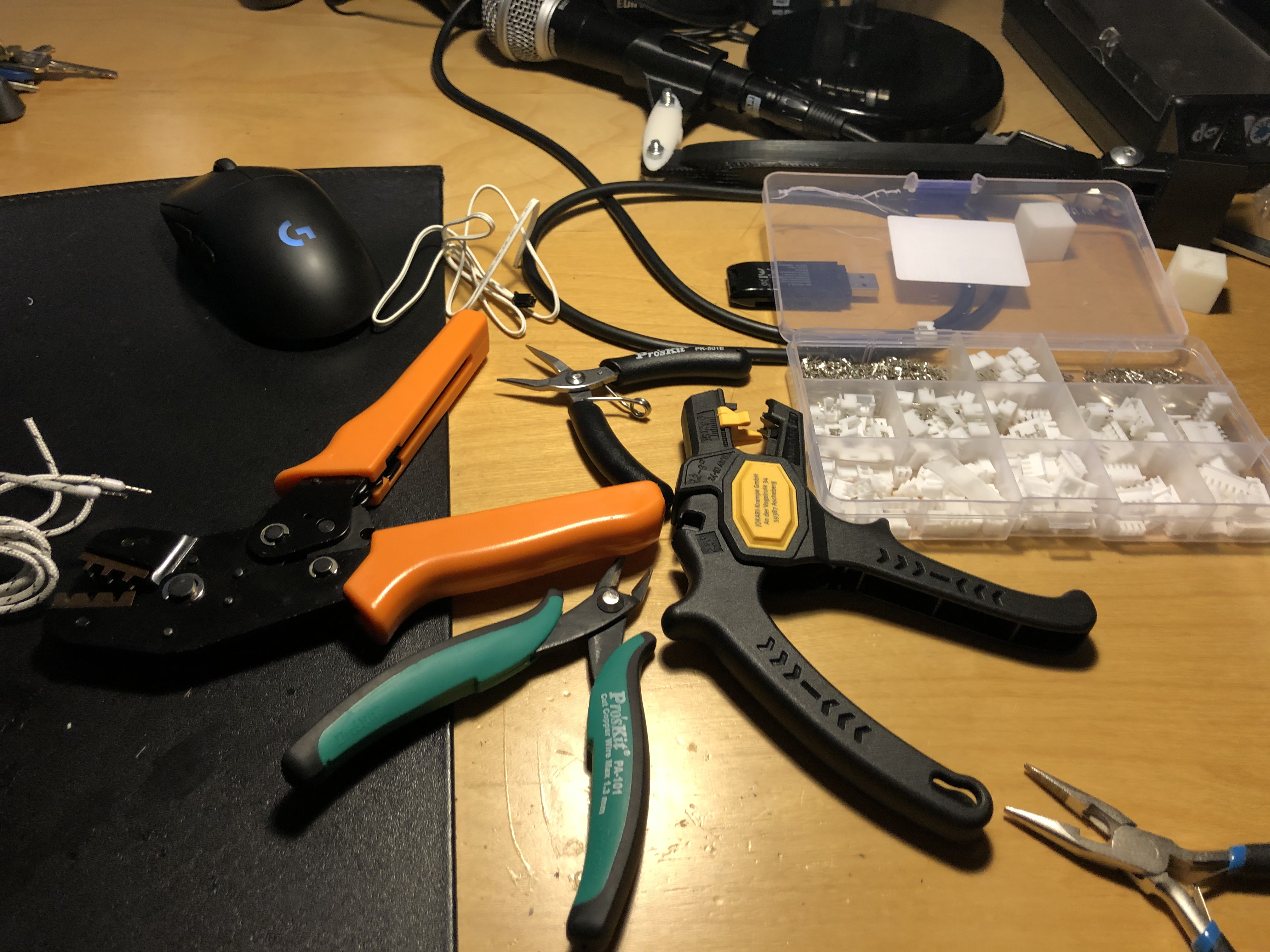 Crimping tools and wire strippers.